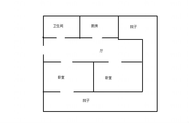 裕安小区一层带大院72平两居出售