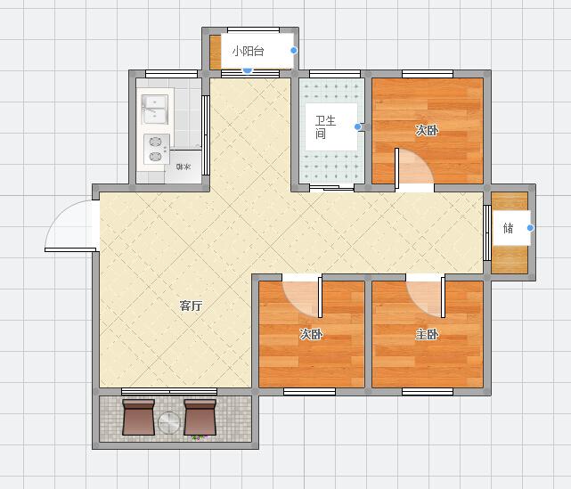斯瑞明珠城90平米3室2厅南北通透
