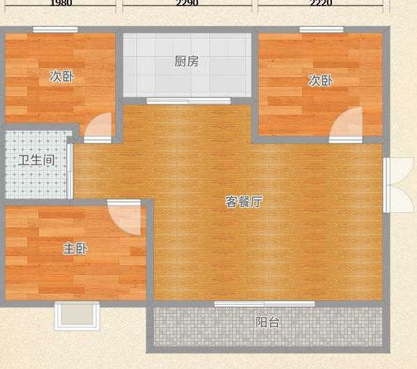英伦联邦100平米3室毛坯房出售_8