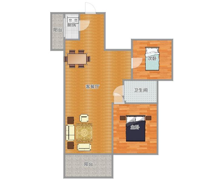 瀚城二期全新精装两房,基本未住,保持非常好
