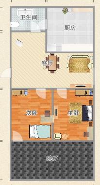 香港街二楼带大平台院子 精装2房保持好