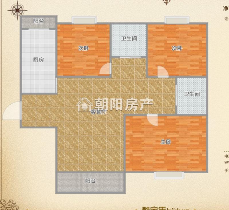 万达广场有证毛坯3房看房方便