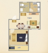 金丰易居三期简装一室一厅,多层三楼,户型周正