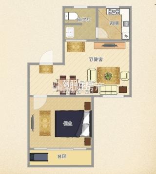 金丰易居三期简装一室一厅,多层三楼,户型周正_9